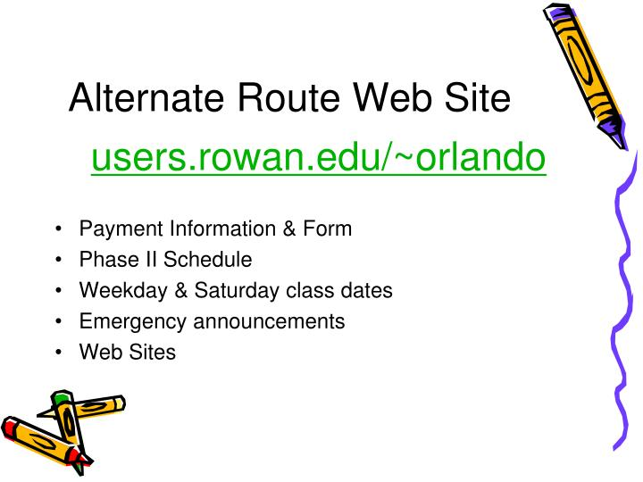 Alternate route web site