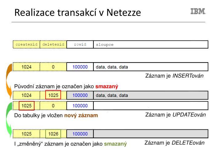 Realizace transakcí v Netezze