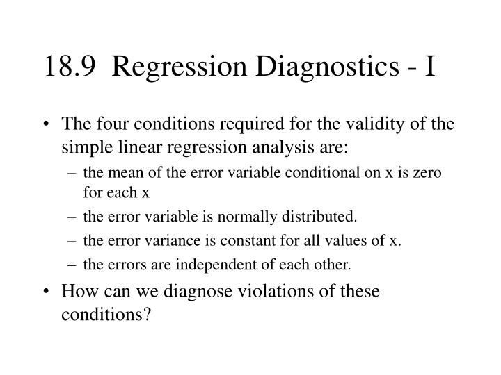 18.9  Regression Diagnostics - I