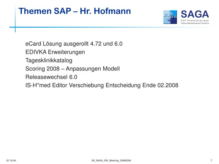 Themen SAP – Hr. Hofmann