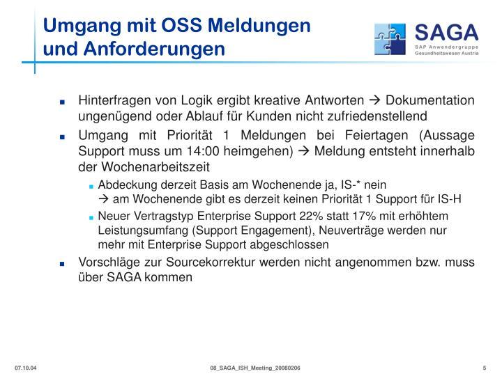 Umgang mit OSS Meldungen