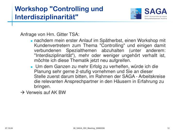 """Workshop """"Controlling und Interdisziplinarität"""""""