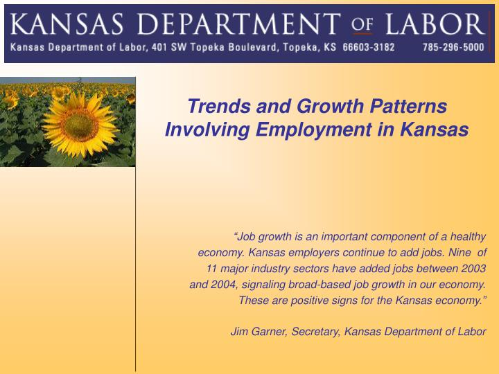 Trends and Growth Patterns Involving Employment in Kansas
