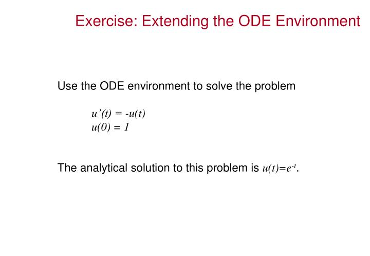 Exercise: Extending the ODE Environment