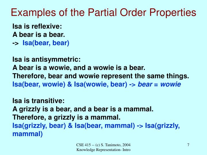Examples of the Partial Order Properties