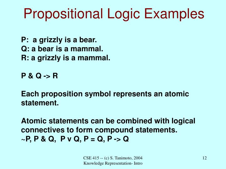 Propositional Logic Examples