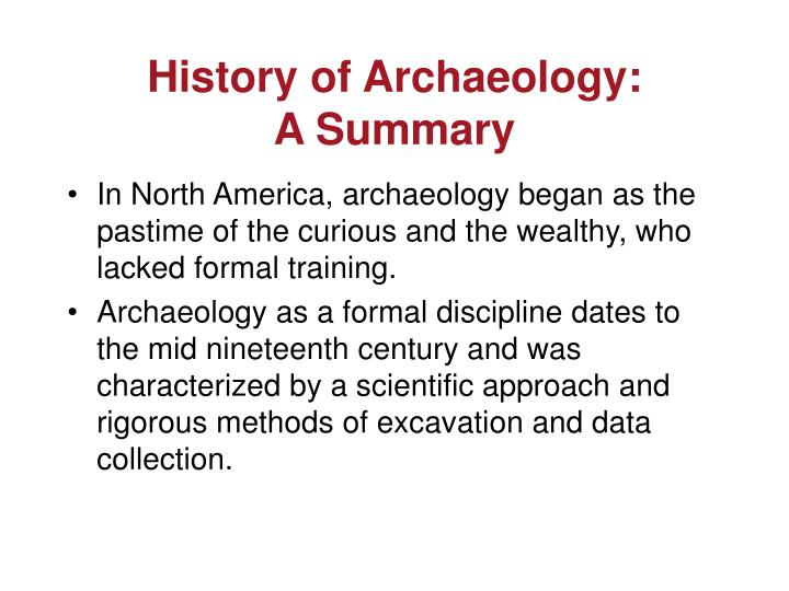 History of Archaeology: