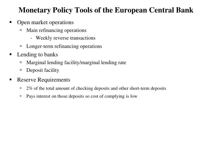 Monetary Policy Tools of the European Central Bank