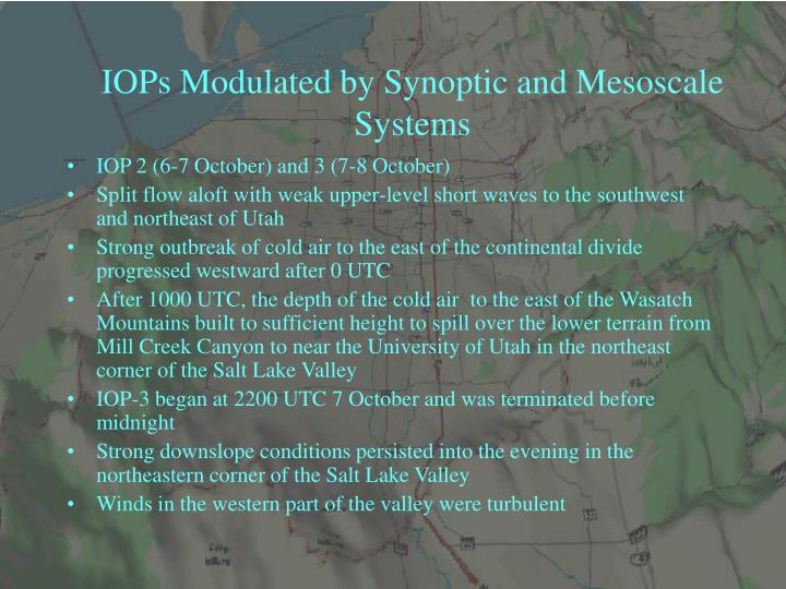 IOPs Modulated by Synoptic and Mesoscale Systems