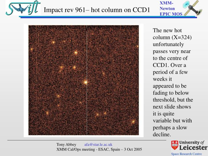 Impact rev 961 hot column on ccd1