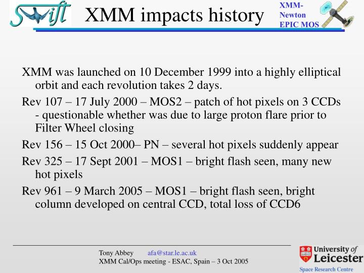 XMM was launched on 10 December 1999 into a highly elliptical orbit and each revolution takes 2 days.