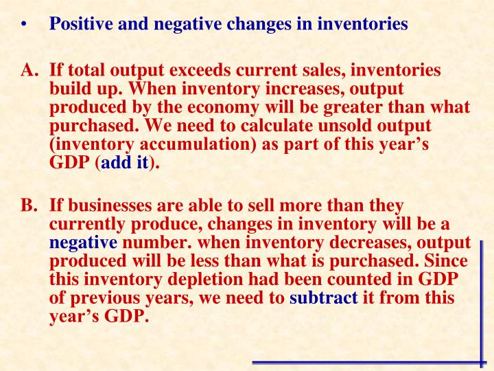 Positive and negative changes in inventories