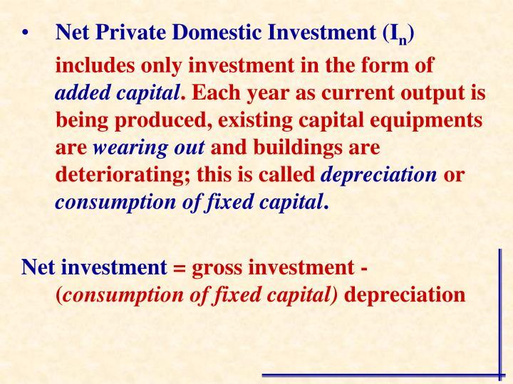 Net Private Domestic Investment (I