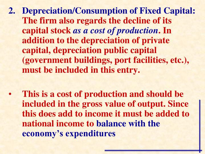Depreciation/Consumption of Fixed Capital: