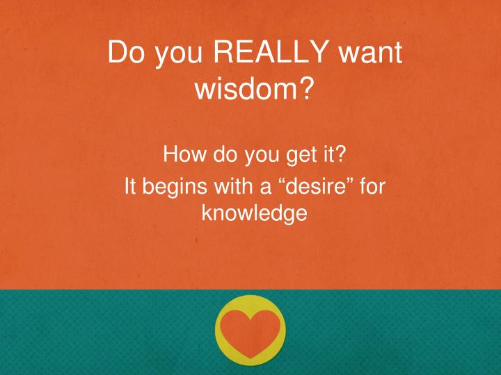 Do you REALLY want wisdom?