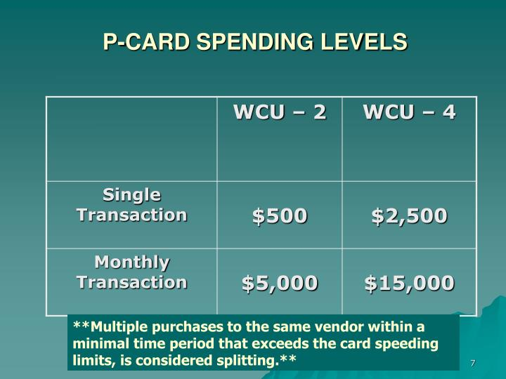P-CARD SPENDING LEVELS