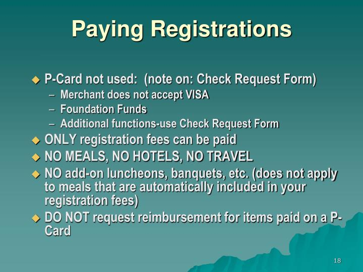 Paying Registrations
