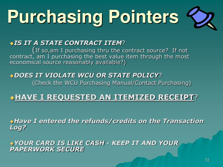 Purchasing Pointers