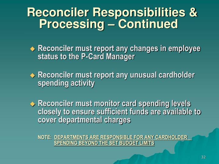 Reconciler Responsibilities &
