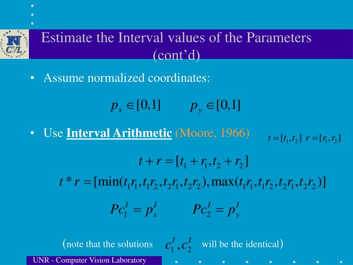 Estimate the Interval values of the Parameters (cont'd)