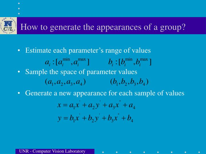 How to generate the appearances of a group?