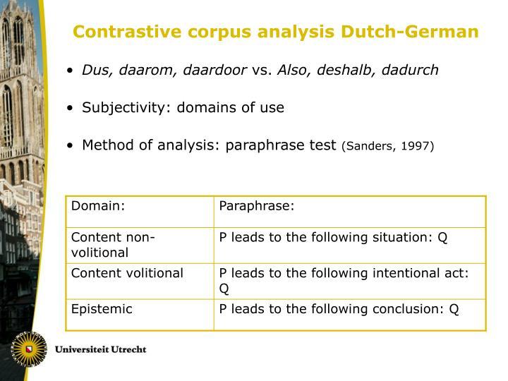 Contrastive corpus analysis Dutch-German