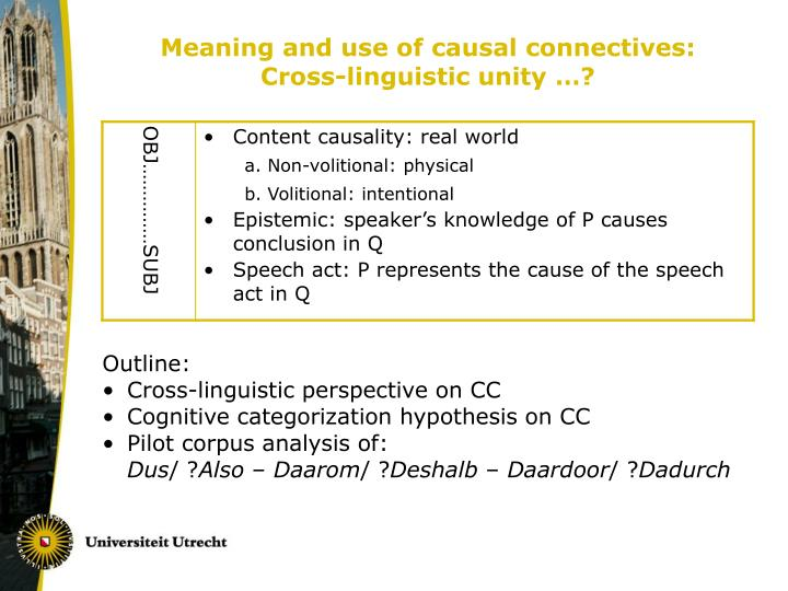 Meaning and use of causal connectives cross linguistic unity