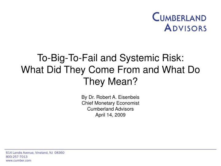 to big to fail and systemic risk what did they come from and what do they mean
