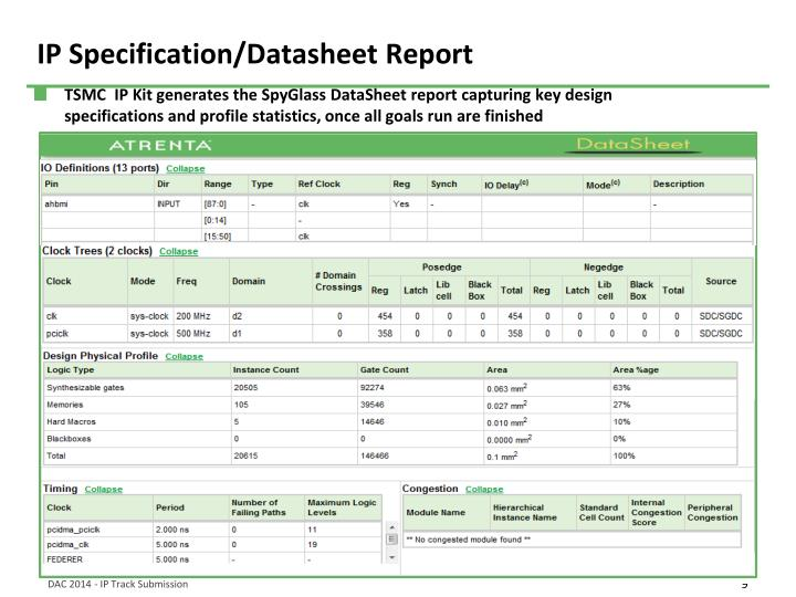 IP Specification/Datasheet Report