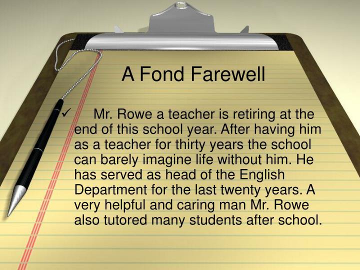 A Fond Farewell