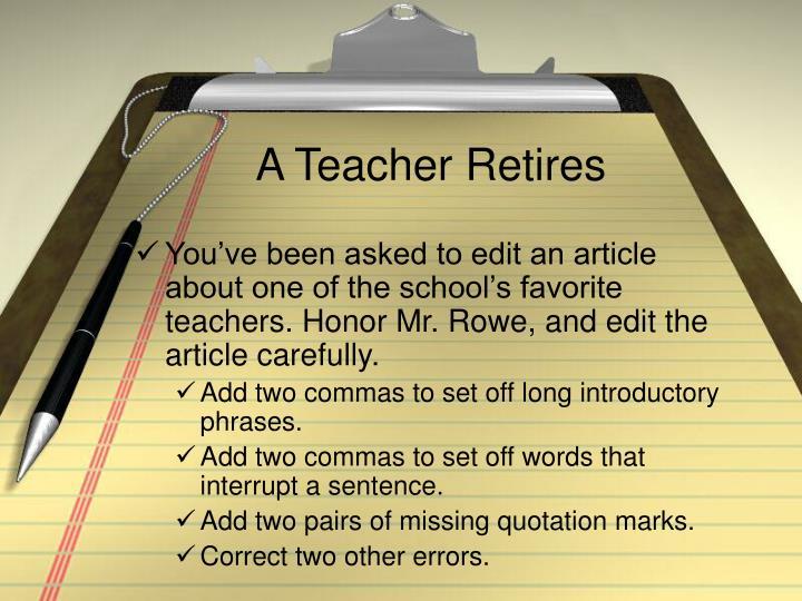 A Teacher Retires