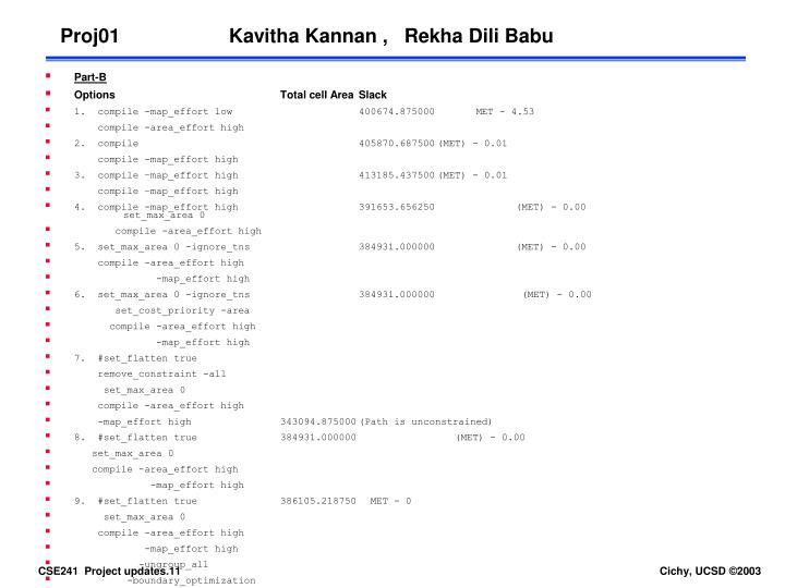 Proj01                    Kavitha Kannan ,   Rekha Dili Babu