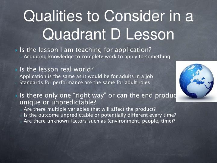 Is the lesson I am teaching for application?