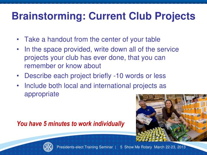 Brainstorming: Current Club Projects