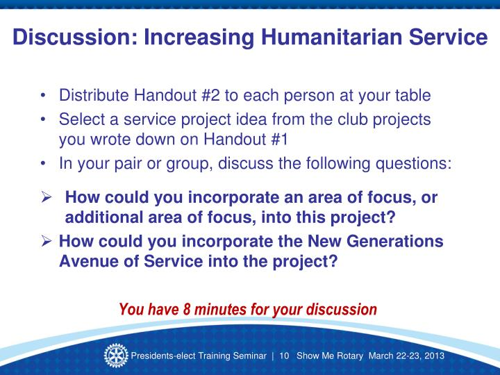 Discussion: Increasing Humanitarian Service