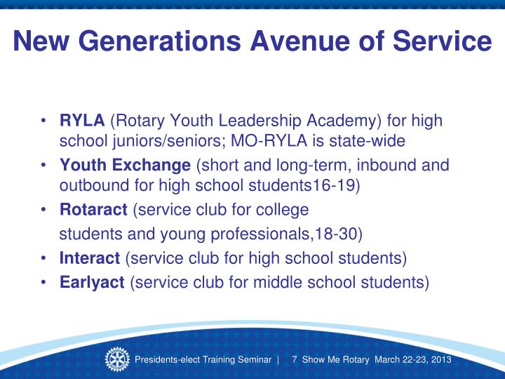 New Generations Avenue of Service