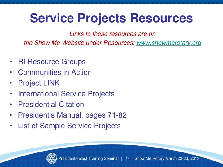 Service Projects Resources
