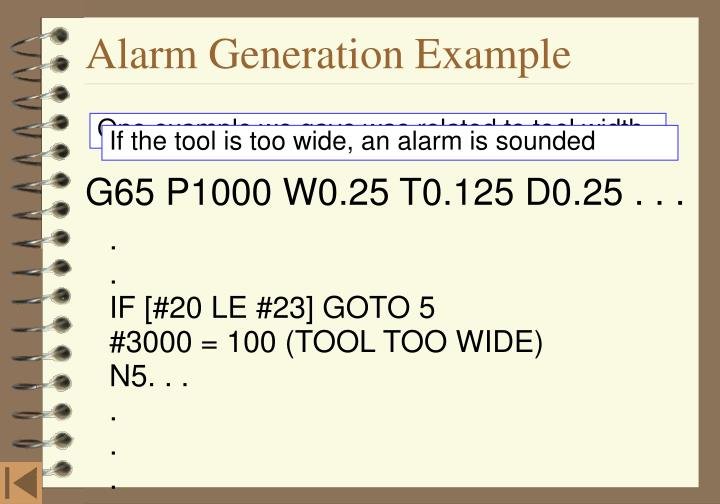Alarm Generation Example