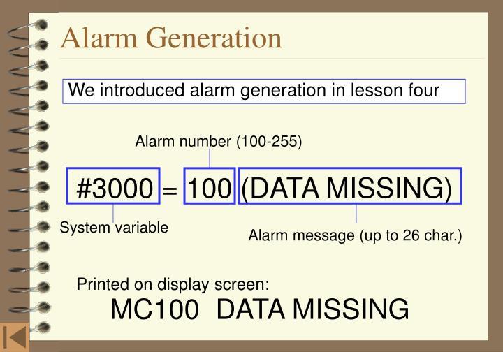 Alarm number (100-255)