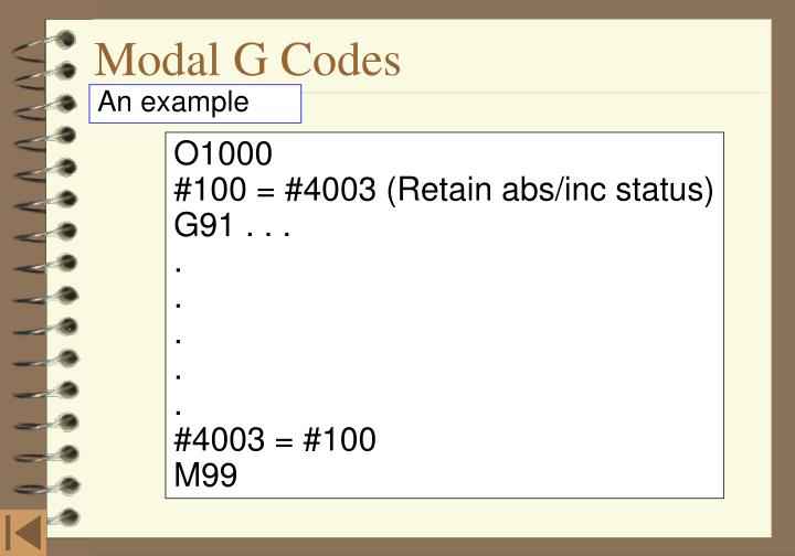 Modal G Codes
