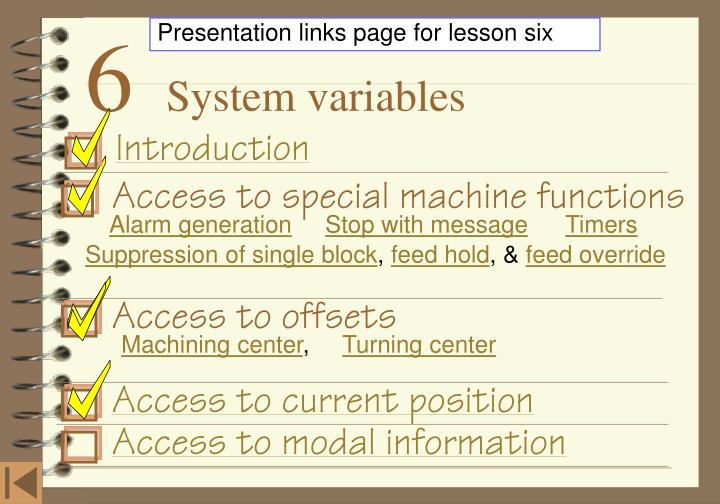 Presentation links page for lesson six