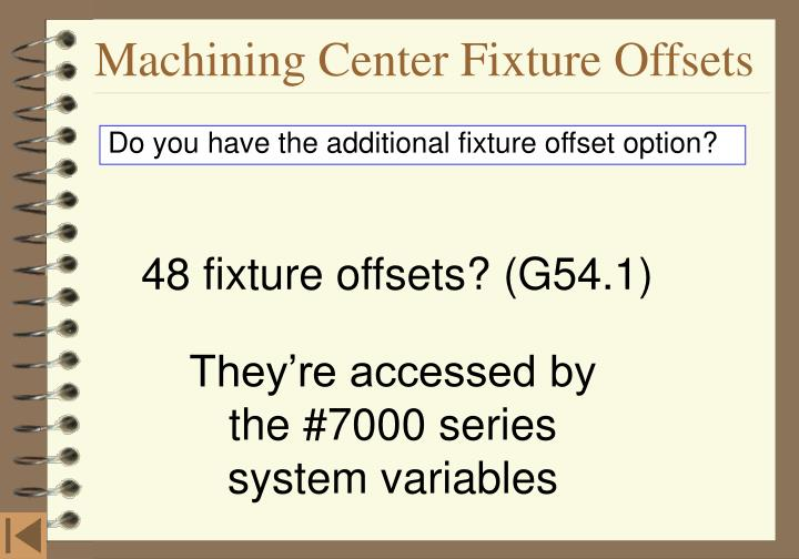Machining Center Fixture Offsets