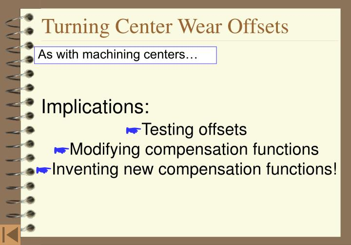 Turning Center Wear Offsets