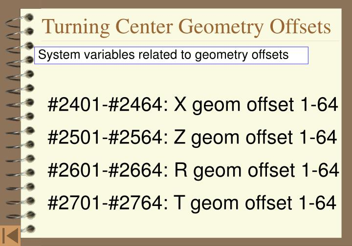 Turning Center Geometry Offsets