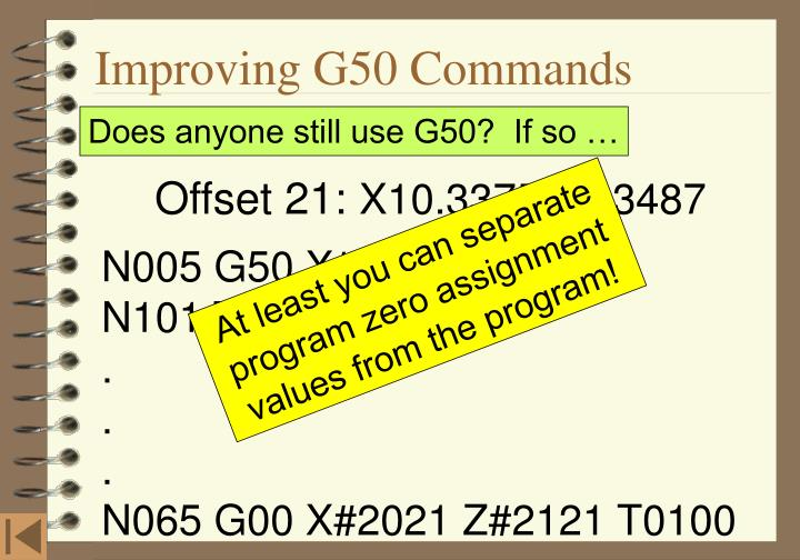 Improving G50 Commands