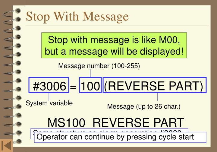 Message number (100-255)