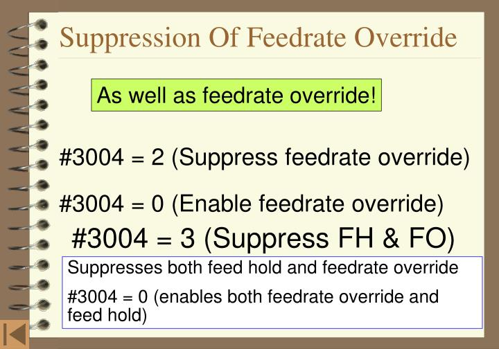 Suppression Of Feedrate Override