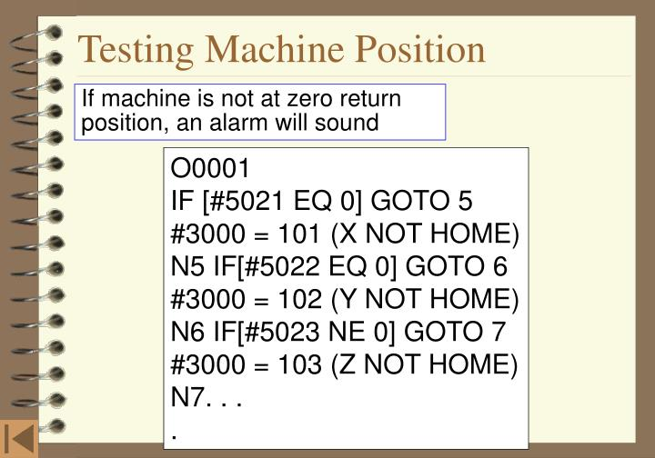 Testing Machine Position