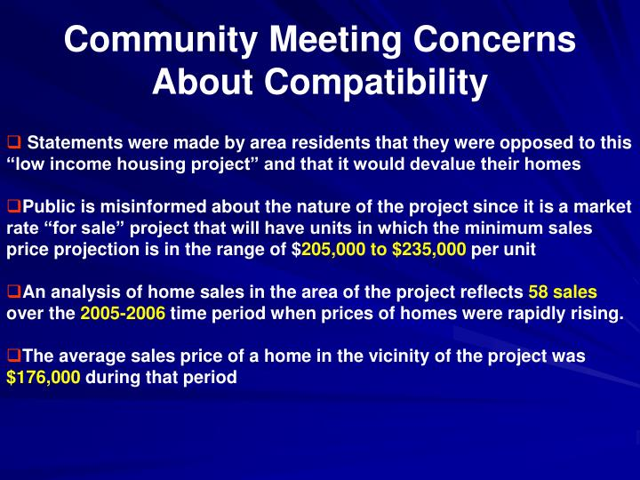 Community Meeting Concerns About Compatibility