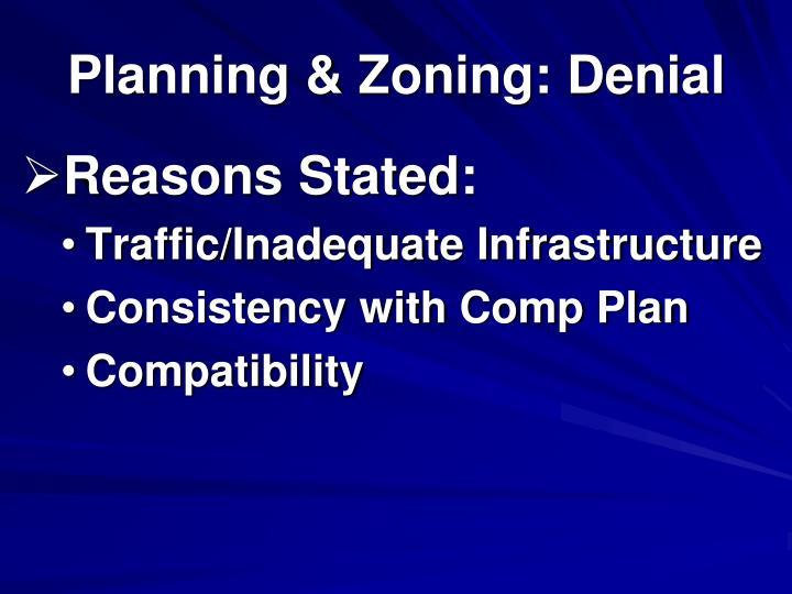 Planning & Zoning: Denial